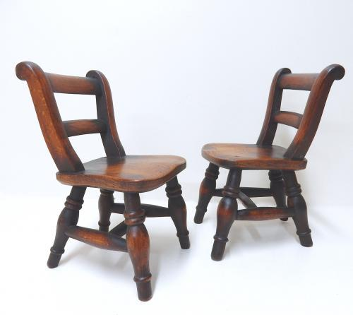 Pr Miniature Windsor Chairs