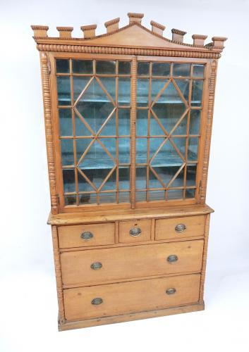 Antique Pine Bookcase/Dresser