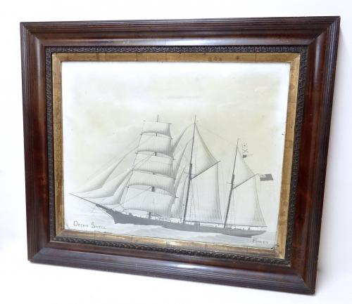 Photogravure - C19th Cornish Sailing Ship