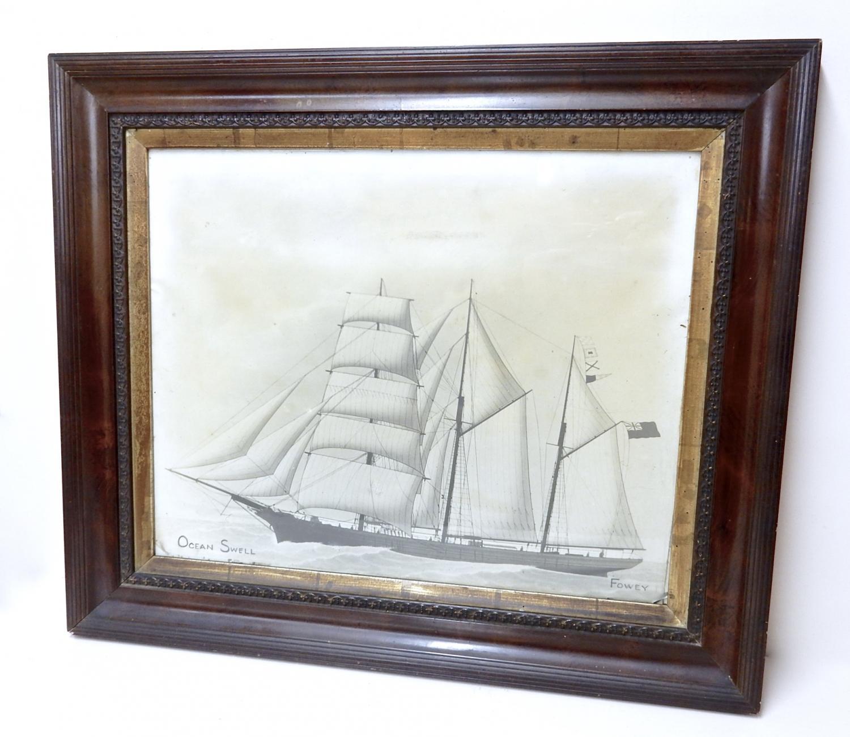 Photogravure - C19th Cornish Sailing Ship