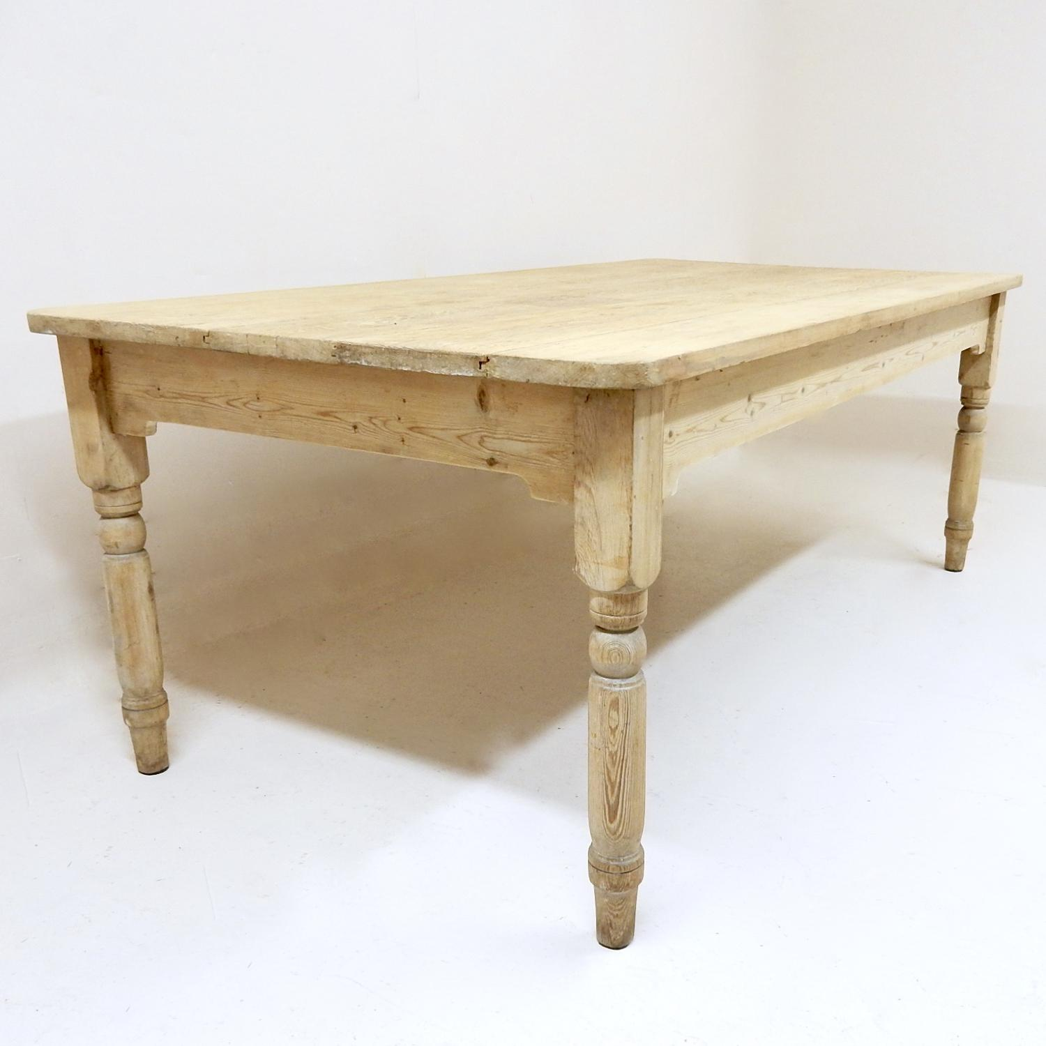 Large Antique Pine Kitchen Table