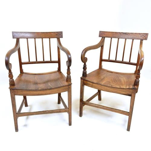 Pr Antique Open Armchairs