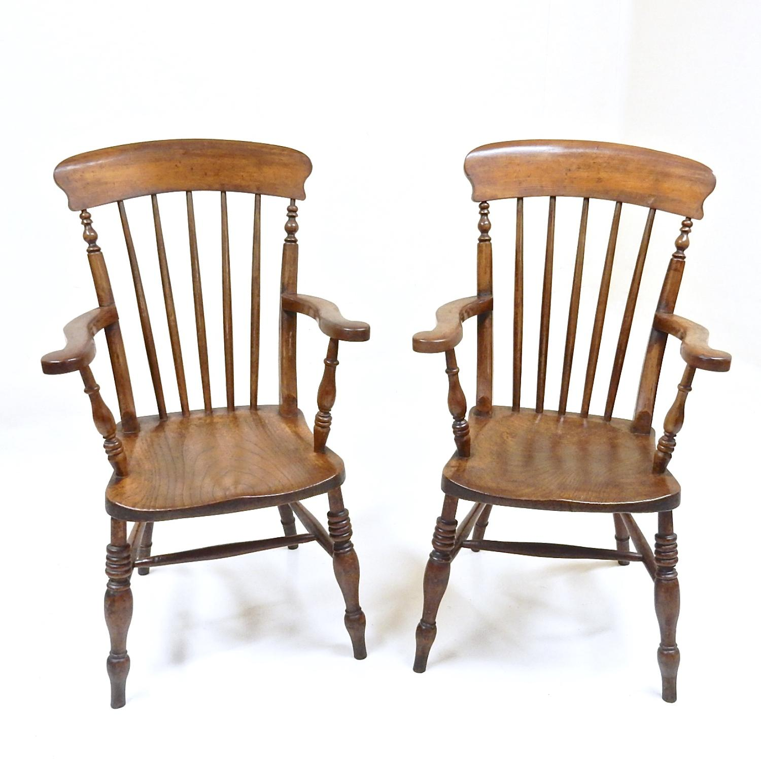 Pr Antique Windsor Armchairs
