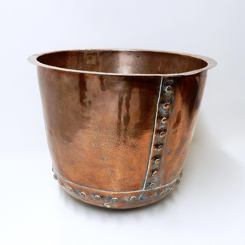 Antique Riveted Copper Cauldron