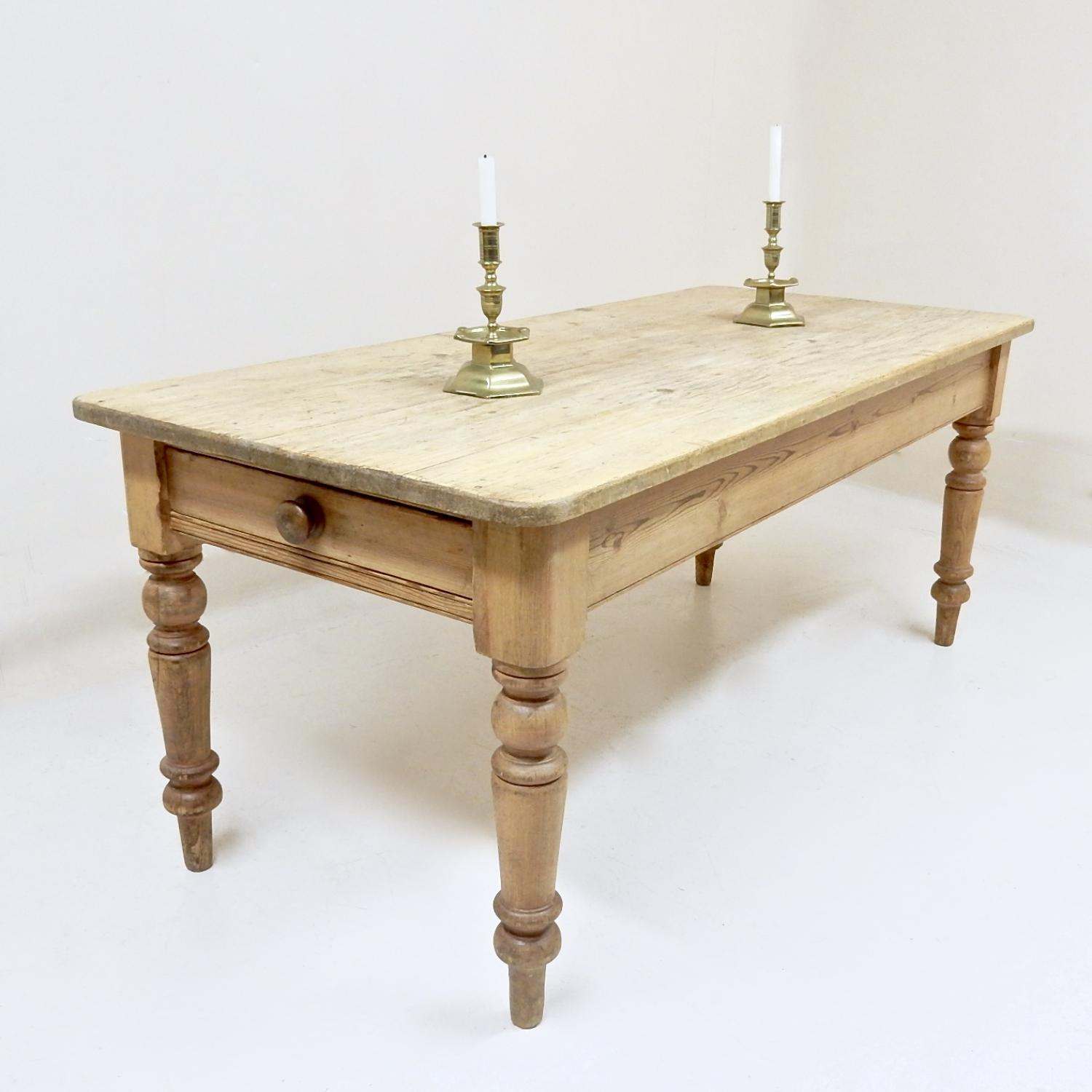 Antique Pine Farmhouse Kitchen Table In Tables