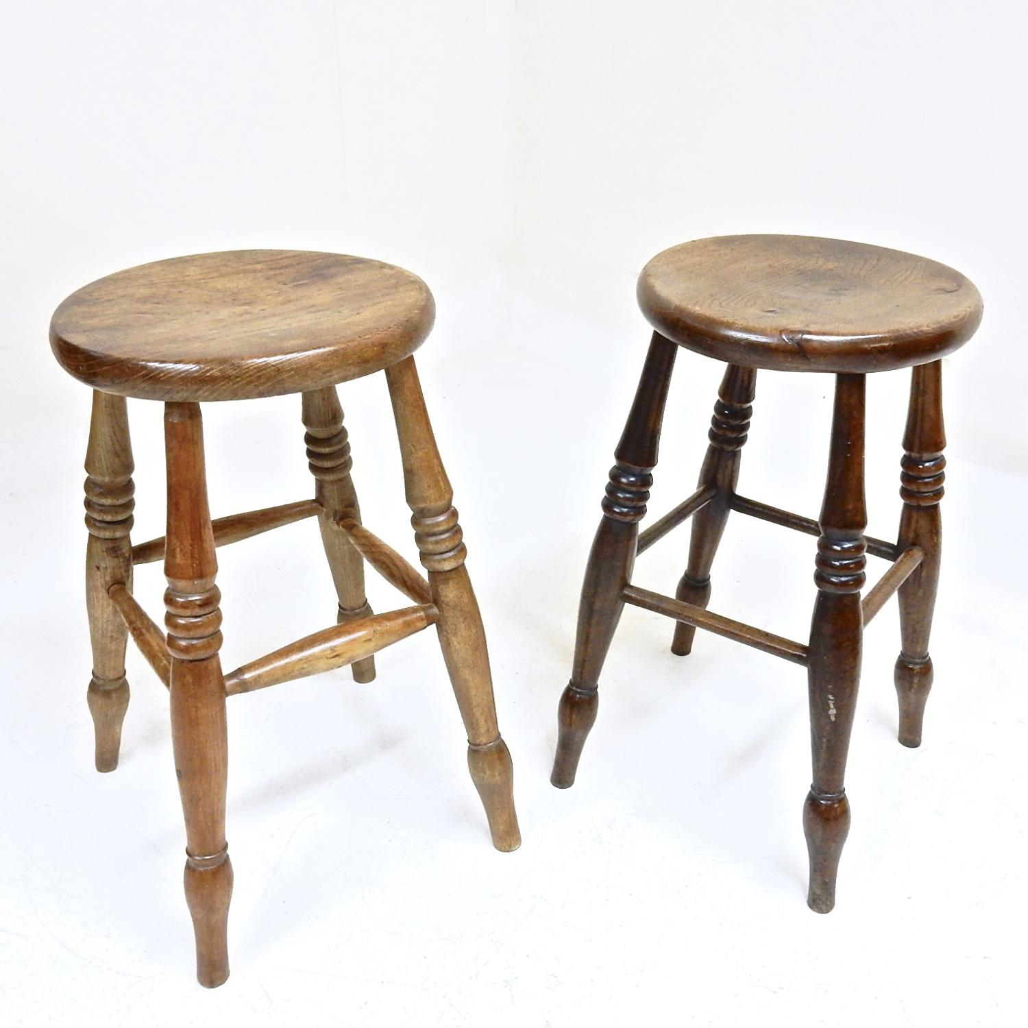 Two Antique Tavern Stools