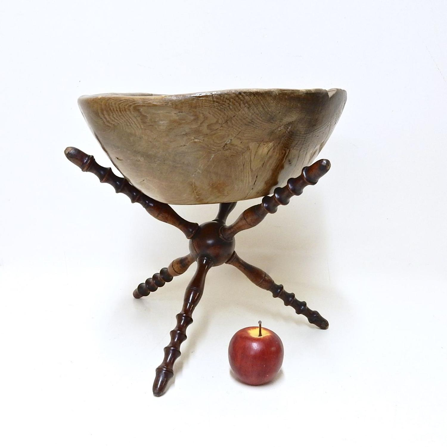 Antique Treen Bowl & Cat Stand