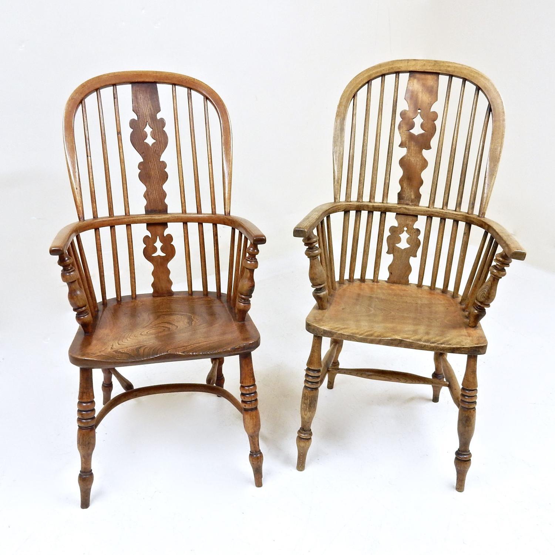 2x Antique Windsor Armchairs