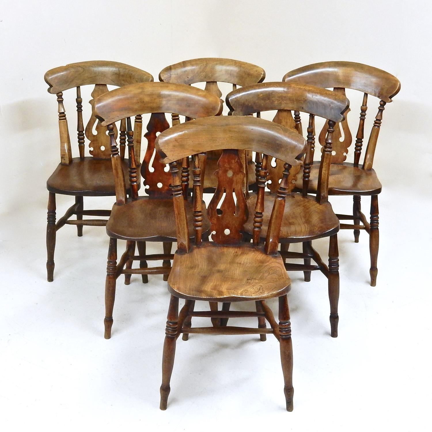 Antique Windsor Kitchen Dining Chairs x6