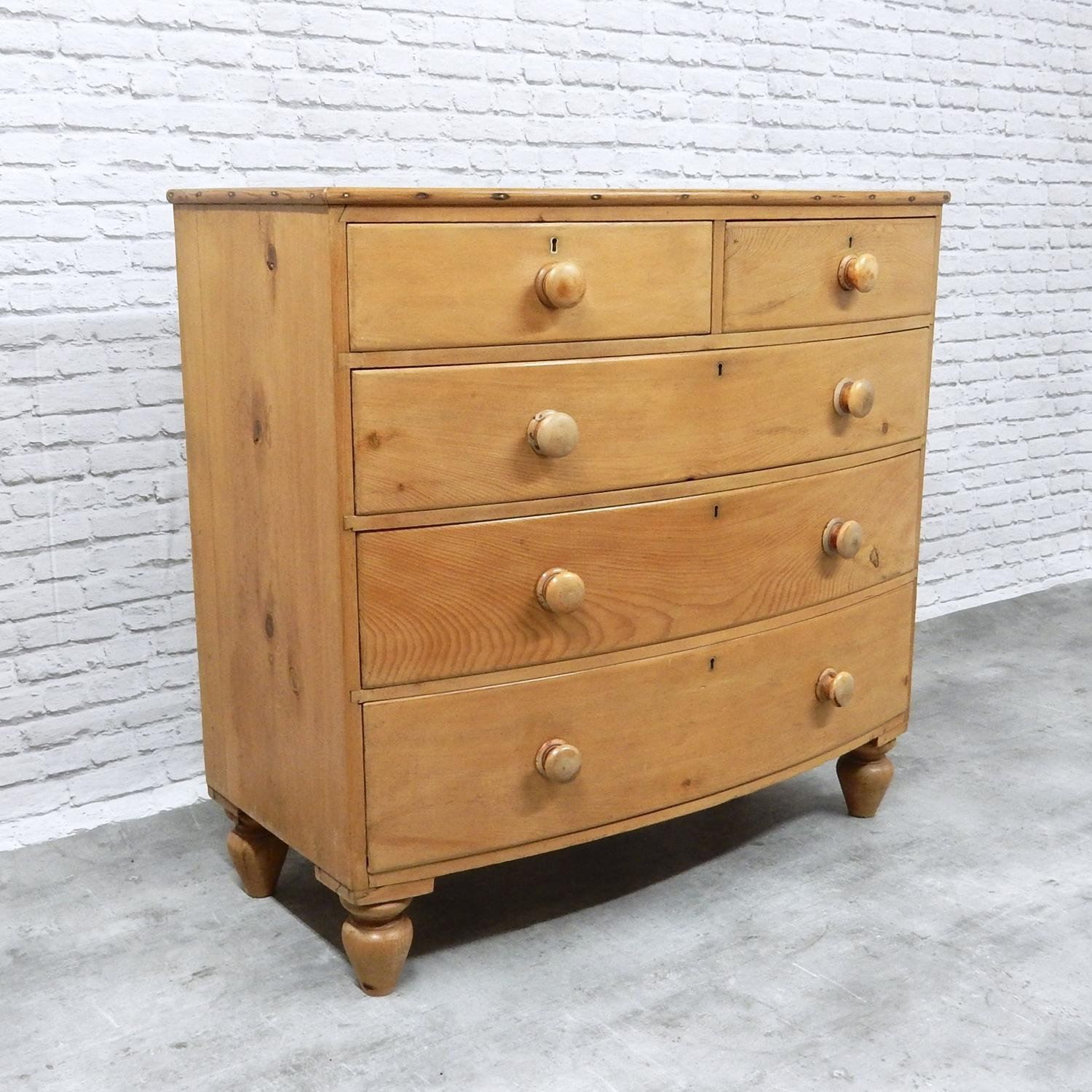 Antique Pine Bow Fronted Chest of Drawers