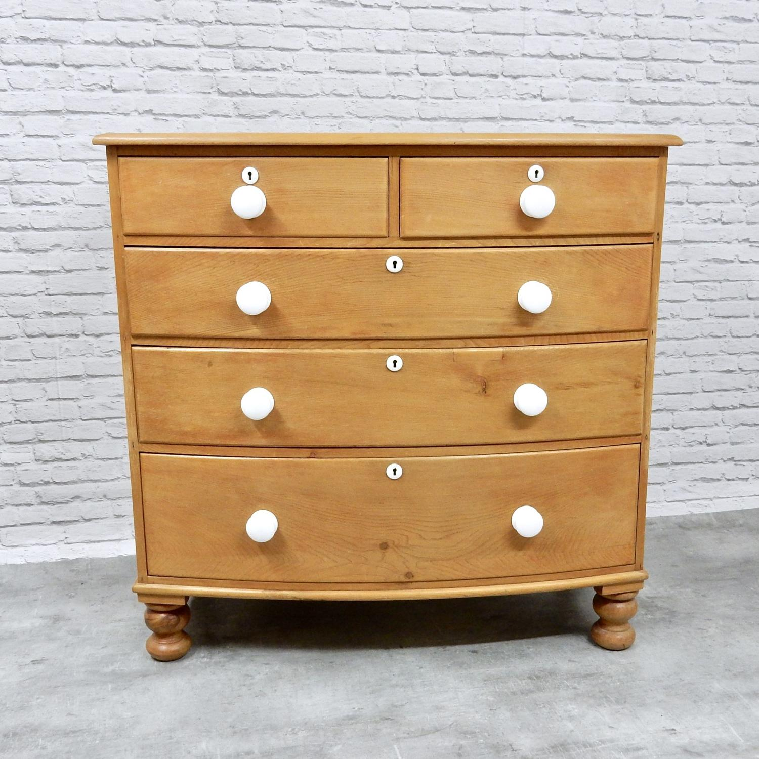 Bow-fronted Pine Chest of Drawers