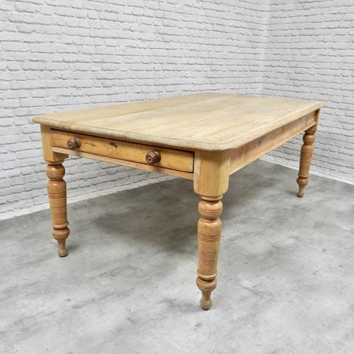 Large Victorian Pine Kitchen Table