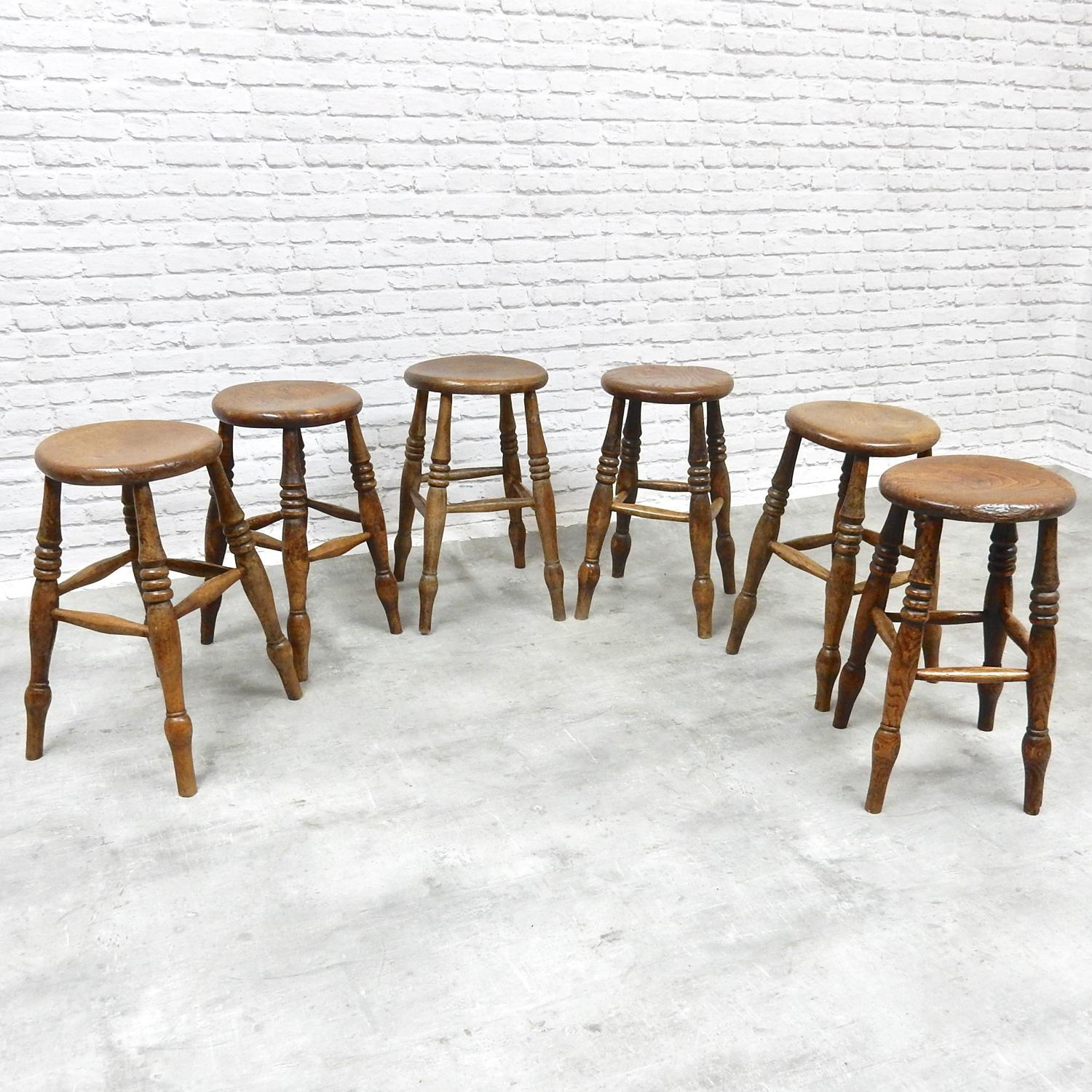 6x Antique Pub Stools