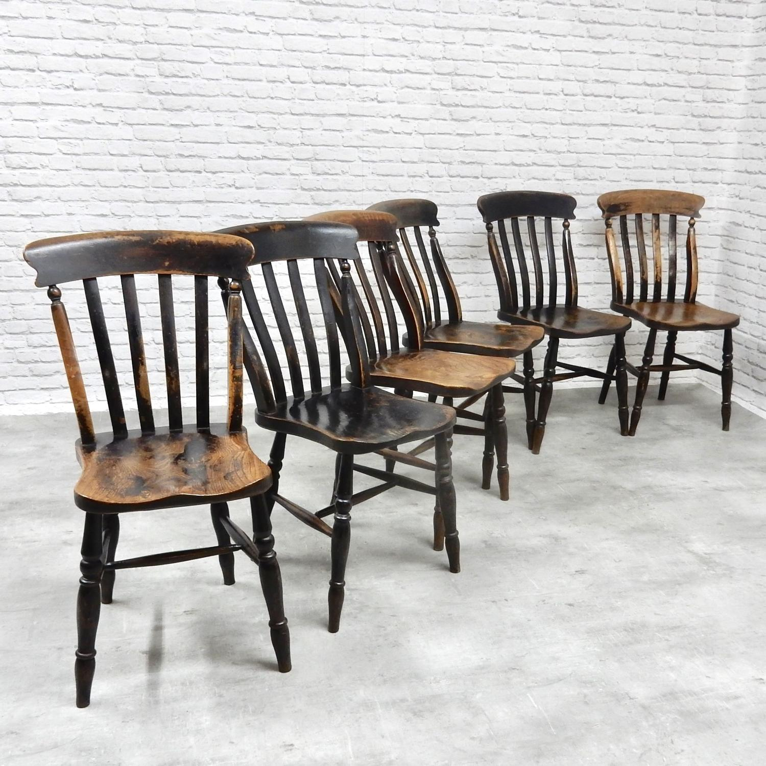 Set 6 Antique Windsor Chairs