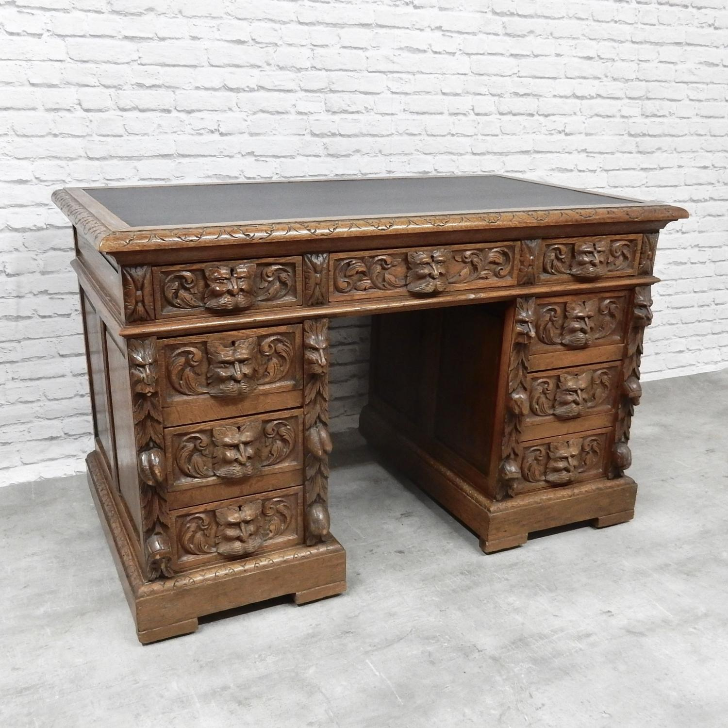 Antique Oak Pedestal Desk