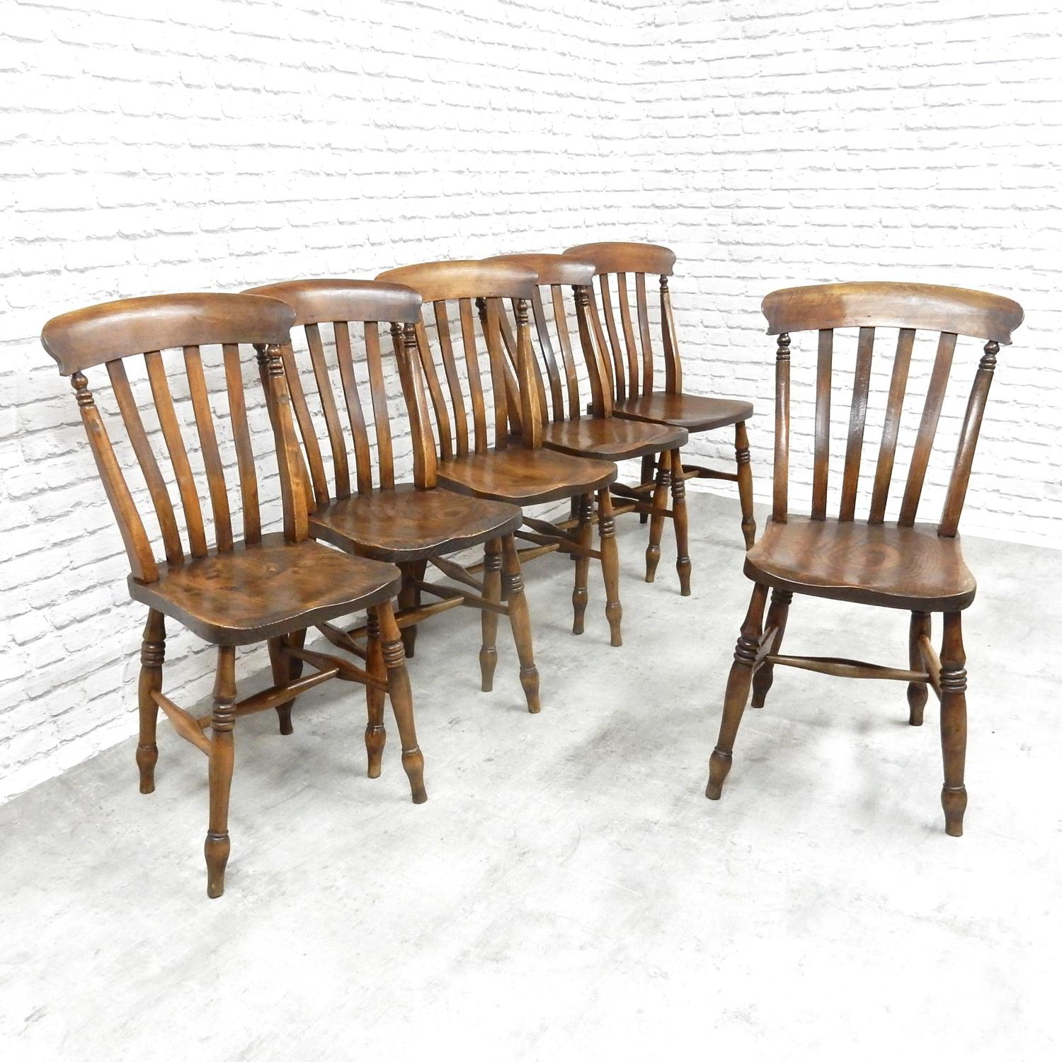 Set 6 Antique Country Chairs