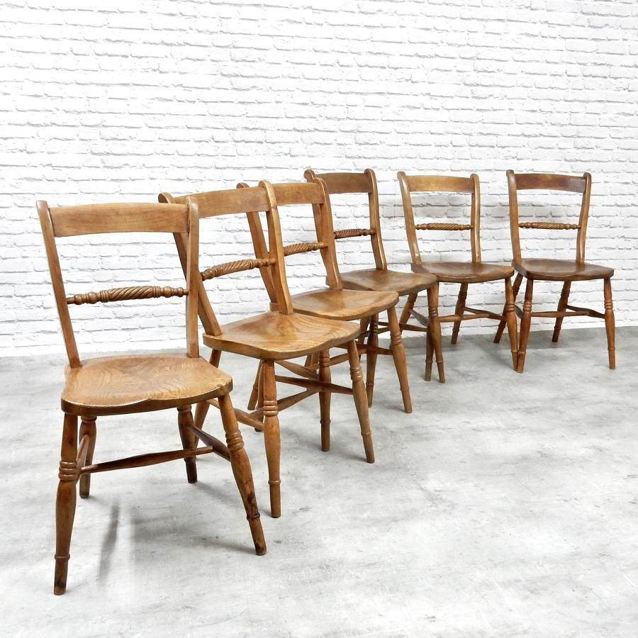 6x Antique Windsor Side Chairs