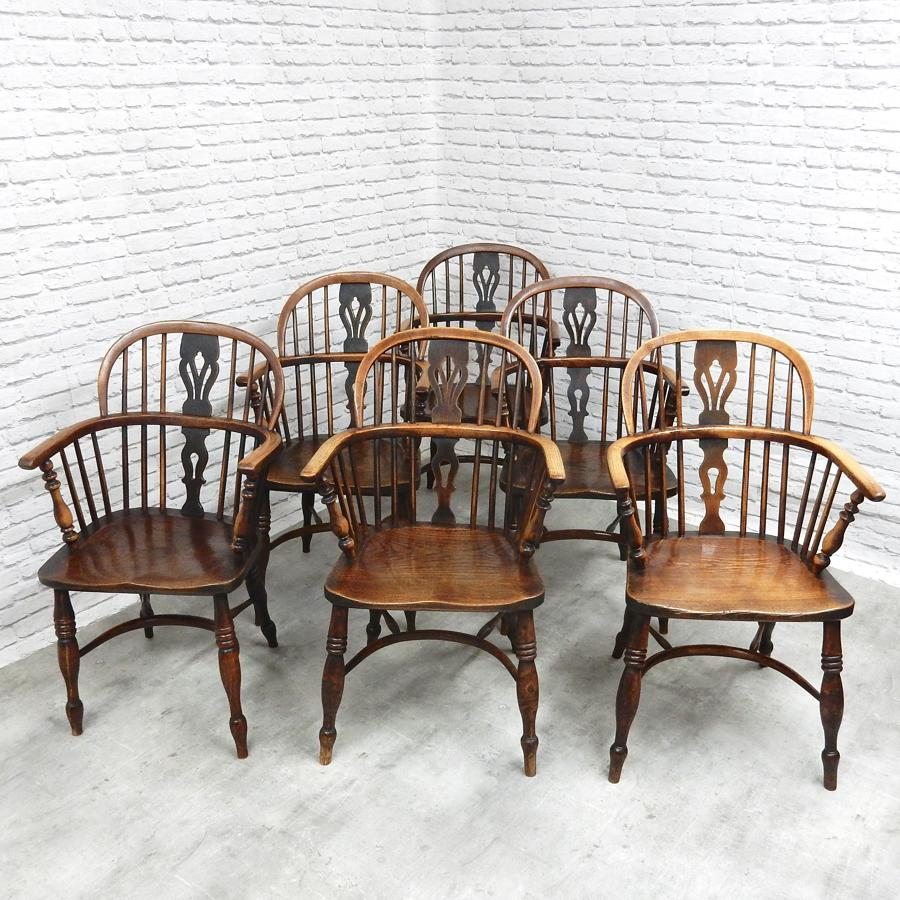 Six Antique Windsor Armchairs