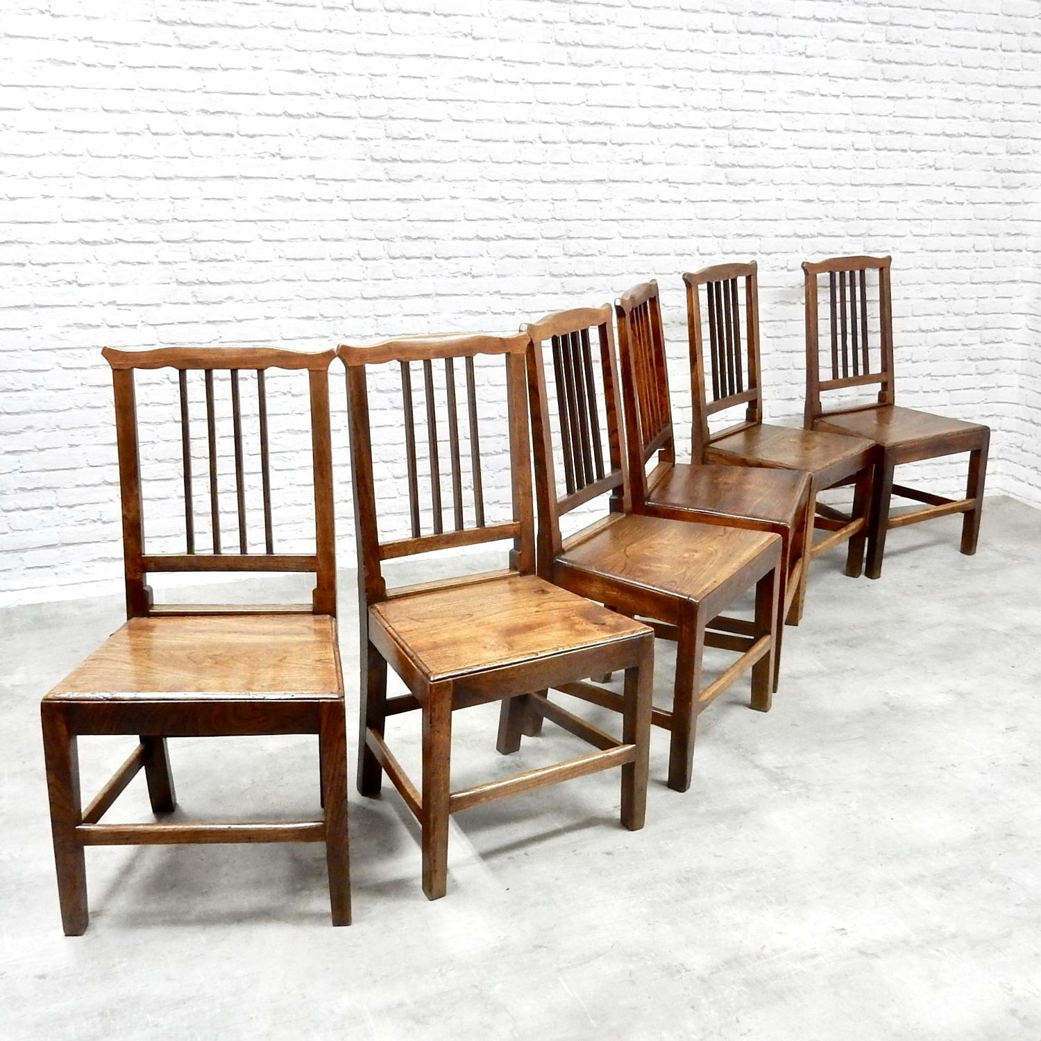 C19th Dining Chairs in Elm
