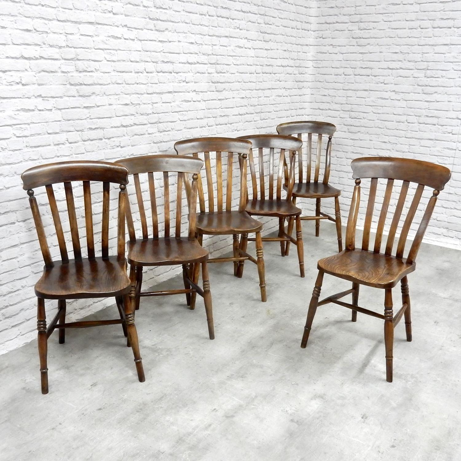 Set 6 Windsor Lathback Kitchen Chairs