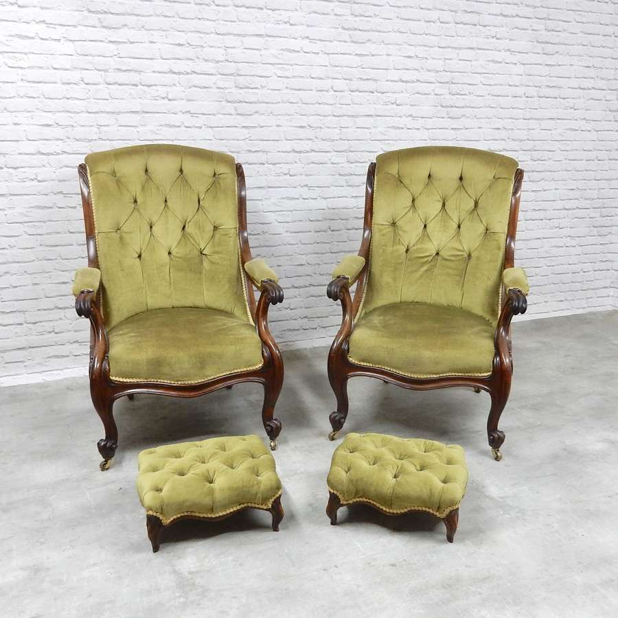 Pr Victorian Armchairs & Footstools