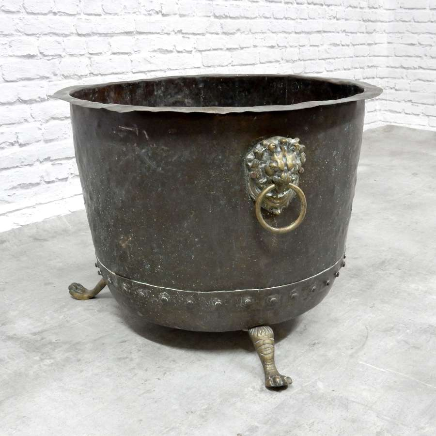 C19th Copper Cauldron Log Bin