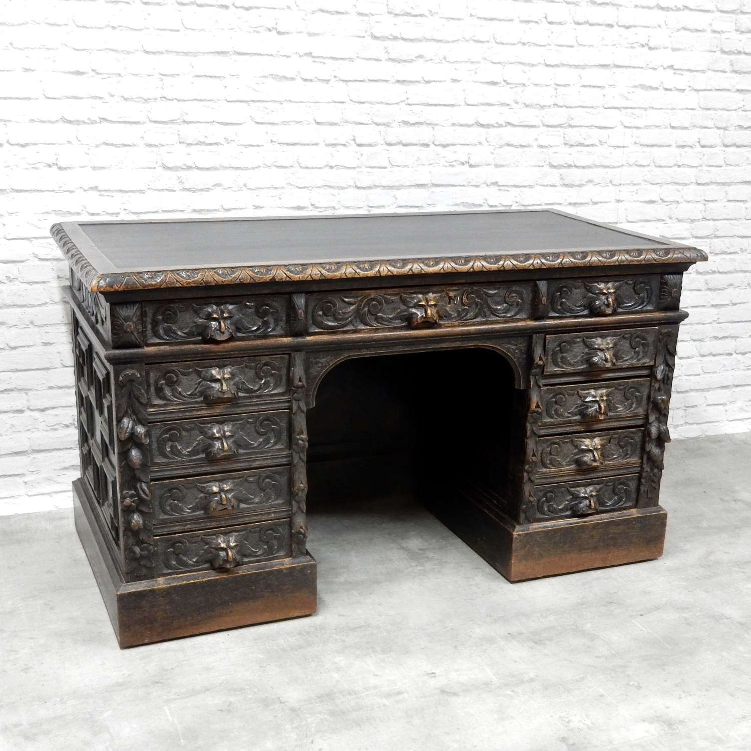 C19th Oak Greenman Pedestal desk