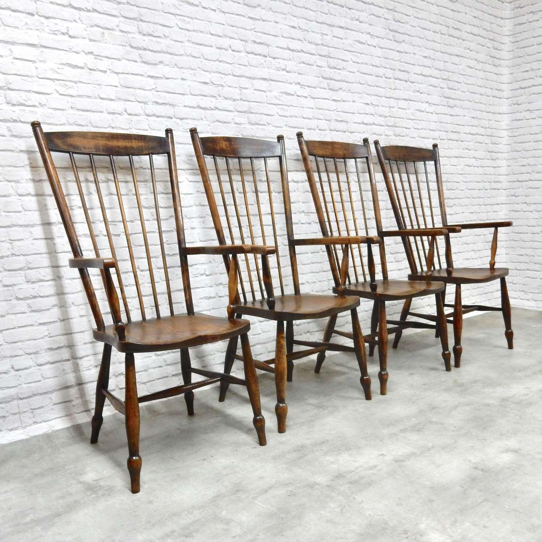 Set 4 Highback Windsor Armchairs
