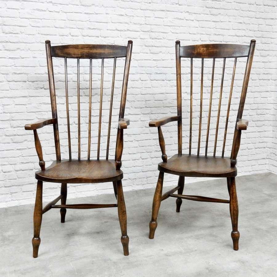 Pr Highback Windsor Armchairs