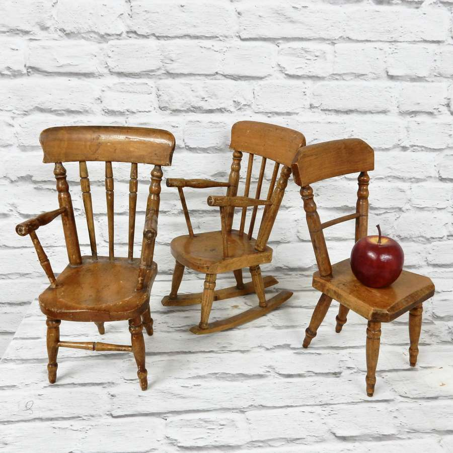 Set 3 Miniature Windsor Chairs