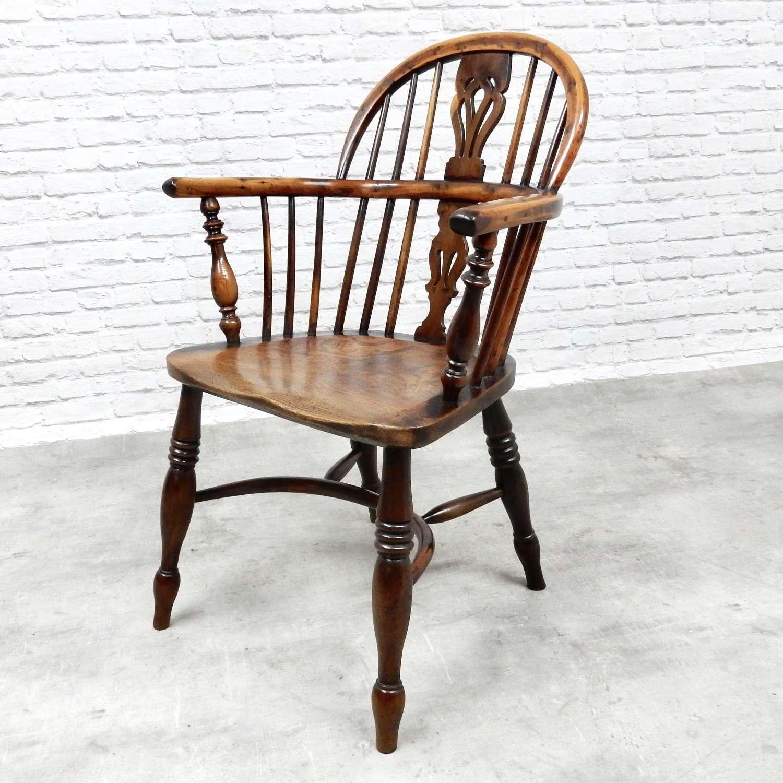 Yew Wood C19th Windsor Armchair