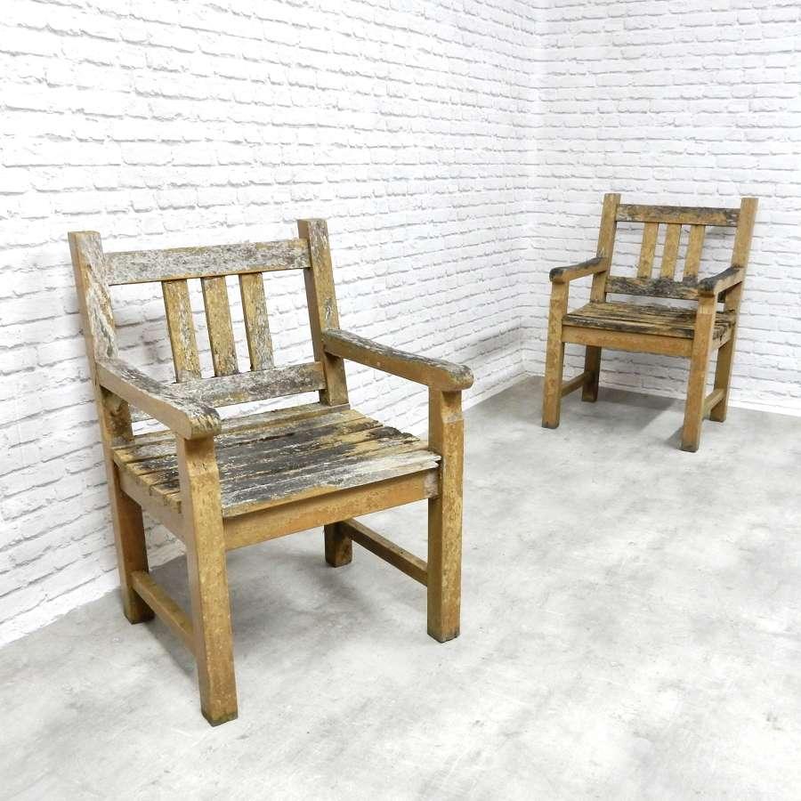 Pr Weathered Garden Chairs