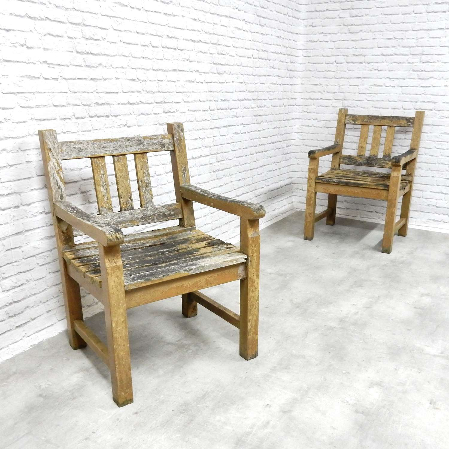 Pr Weathered Garden Chairs