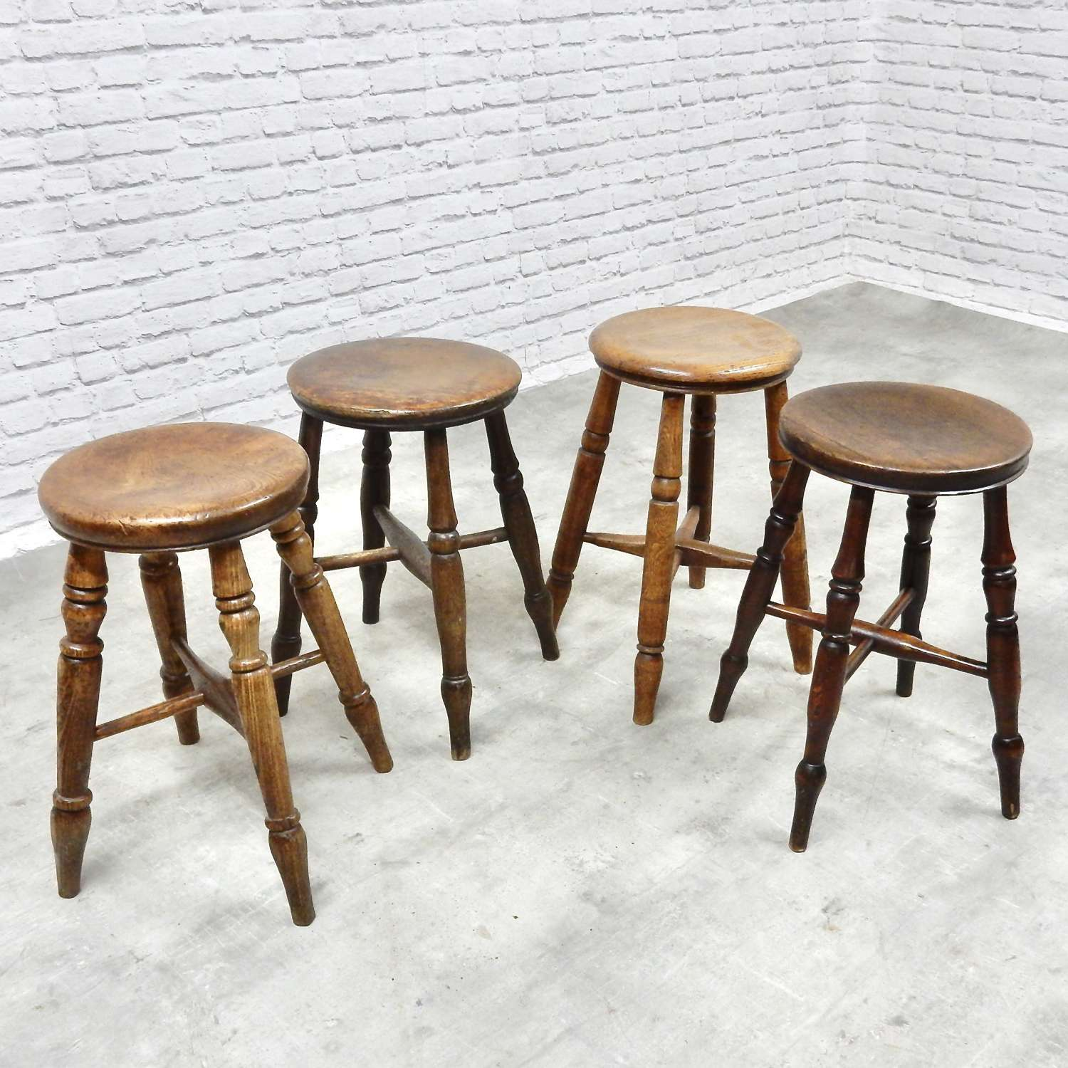 Group of 4 C19th Pub Stools