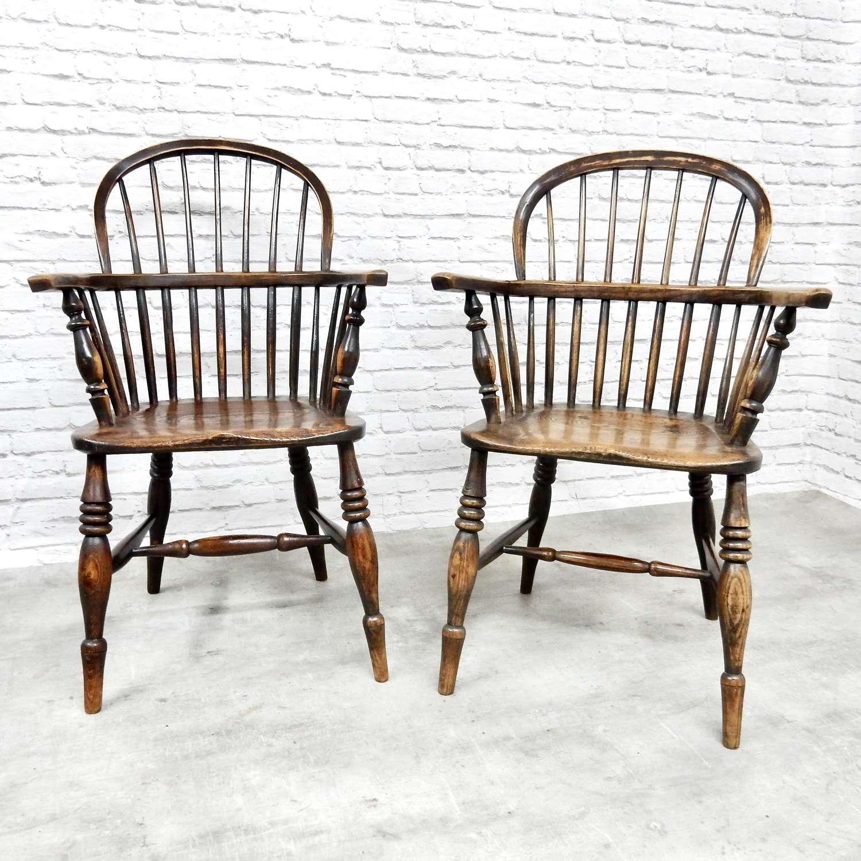 2x Hoopback Windsor Armchairs