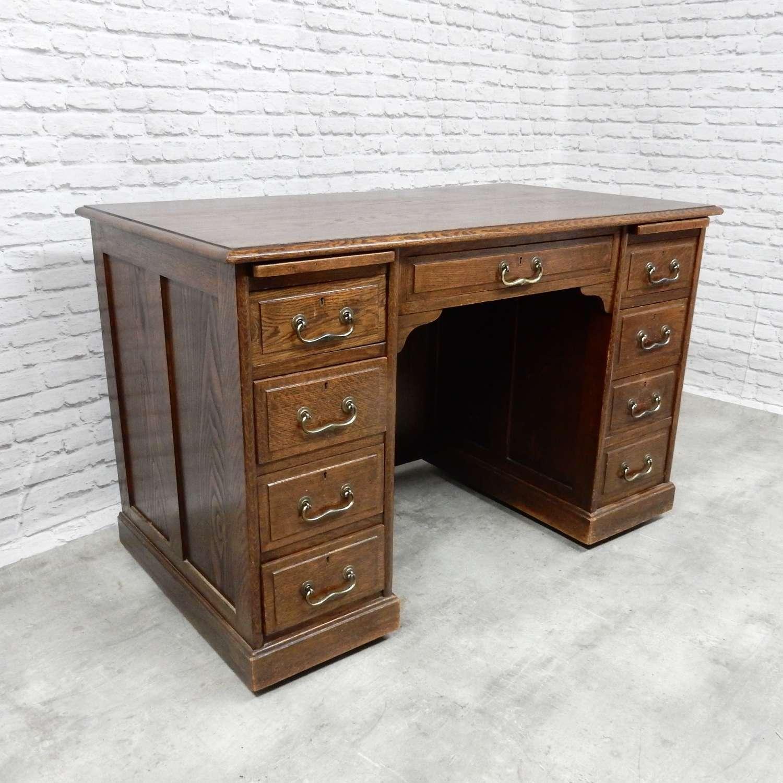 Solid Oak Pedestal Desk