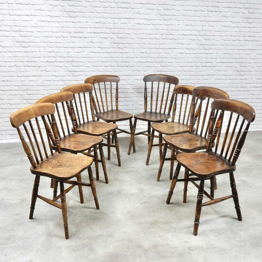 8x C19th Windsor Kitchen Chairs
