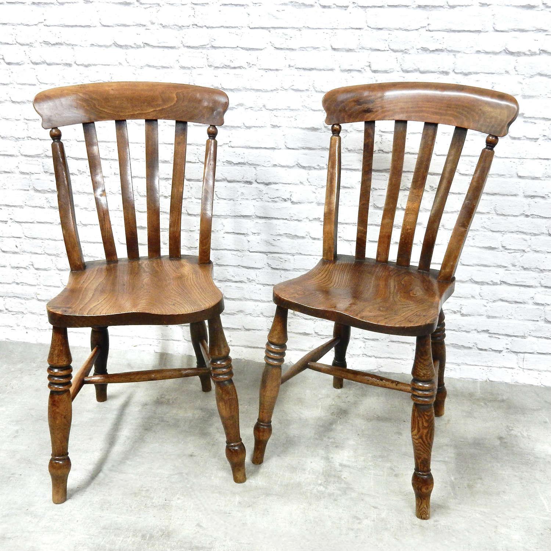 Pr Windsor Lathback Sidechairs