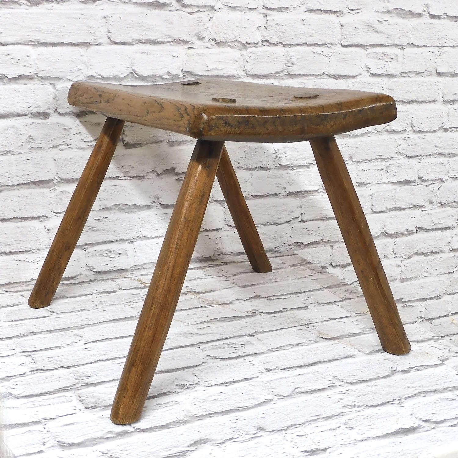 Elm Top C19th Country Stool