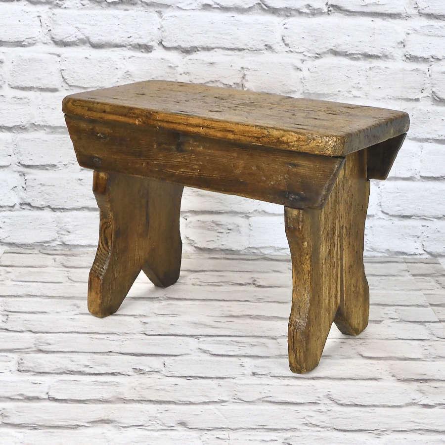 Antique Pine Bench Stool