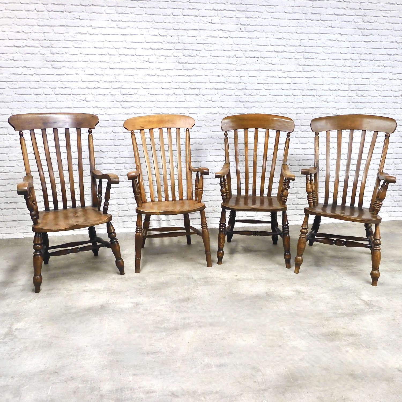 4x Windsor Lathback Armchairs